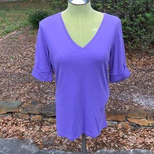 Lauren purple 100% cotton short cuff sleeves